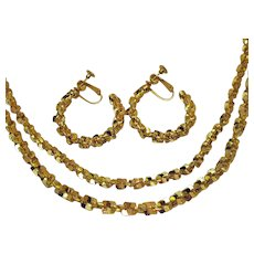Vintage Heavy Yellow Gold Plated Fancy Double Chain Matching Hoop Earrings