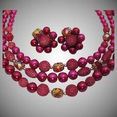 Gorgeous Vintage Three Strand Raspberry Beaded Necklace Earrings Set Unworn