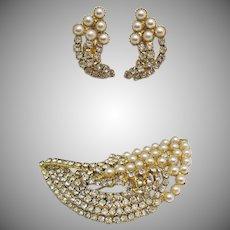 Bold Vintage Faux Pearl Rhinestone Brooch Earrings Set Unworn