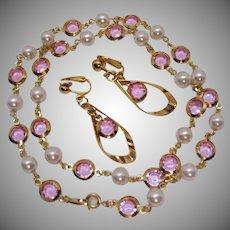 Beautiful Vintage Pink Collet Glass Stones Pearl Necklace Earrings Set Unworn