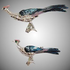 Vintage Figural Pheasant Enameled Bird Scatter Pins Brooches