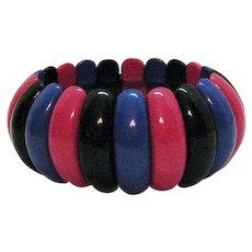BOOK Signed Avon Vintage 1986 BOLD Lucite 'Art Color' Stretch Bracelet Unworn