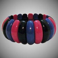 Signed Avon Vintage 1986 BOLD Lucite 'Art Color' Stretch Bracelet Unworn