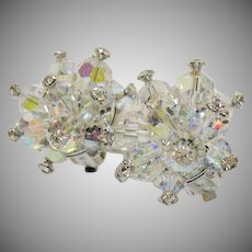 Gorgeous Vintage Vitrail Glass Beaded Layered Heliotrope Rhinestone Clip Earrings