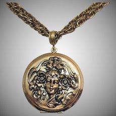 Unsigned Whiting & Davis Victorian Revival Vintage Repousse Figural Locket Necklace