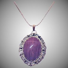 Unique Signed Vendome Vintage Lavender Glass Cabochon Necklace Unworn