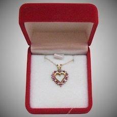 Petite Vintage Ruby Diamond 10K Gold Heart Necklace Original Box Unworn