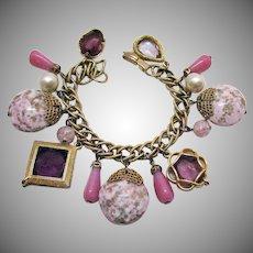 Big Bold Vintage Art Glass Charm Bracelet