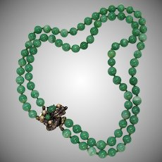 Gorgeous Peking Glass Beaded Double Strand Necklace Fancy Clasp