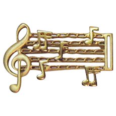 Unusual Vintage Costume Jewelry Mechanical Figural Sheet Music Golden Brooch FREE SHIPPING
