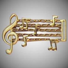 Unusual Vintage Mechanical Figural Sheet Music Golden Brooch
