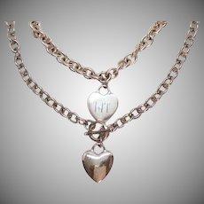 Vintage Silver Metal BFF Heart Charm Bracelet Toggle Heart Charm Necklace