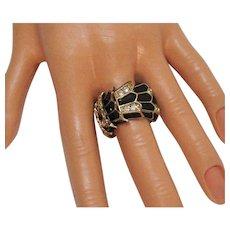 Vintage Joan Rivers Enameled Snake Coil Rhinestone Stretch Ring