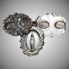 Very Old Vintage 3-Way Miraculous Sterling Silver Repousé Rose Medallion