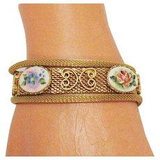 Unusual Vintage Mesh Heart Scrolls Porcelain Painted Flower Bracelet