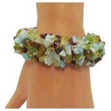 Bold Vintage Gemstone Nugget Stretch Bracelet 108.1 Grams!