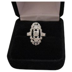 Gorgeous Antique 14K White Gold Art Deco Diamond Ring