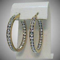 Gorgeous Vintage White Australian Crystal Pierced Earrings Inside Outside 18K Plated Yellow Gold Stainless Steel Unworn