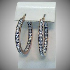 Gorgeous Vintage White Australian Crystal Pierced Earrings Inside Outside 18K Plated Rose Gold Stainless Steel Unworn