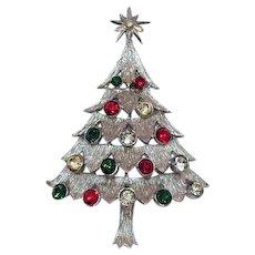 Signed MYLU Vintage Rhinestone Silvery Christmas Tree Brooch