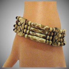Unusual Vintage Bakelite African Safari Jungle Giraffe Print Stretch Bracelet