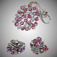 Signed Lisner Vintage Brooch Earrings Set Super Sparkling Pink Aurora Borealis Rhinestones