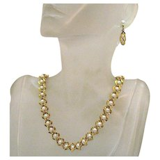 Signed Napier Golden White Faux Pearl Necklace Pierced Earrings Set