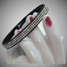 Black Bakelite Vintage Pava Rhinestone Encrusted Bangle Bracelet