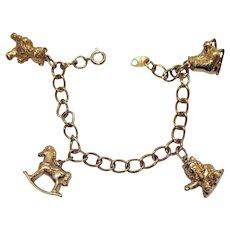 50% Off Book Signed Avon Vintage 1973 3D 14K Gold Wash Figural Charm Bracelet