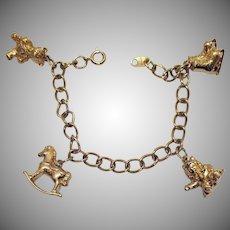 Book Signed Avon Vintage 1973 3D 14K Gold Wash Figural Charm Bracelet