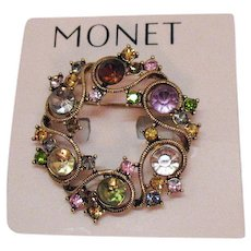 Vintage Signed Monet Rhinestone Eternity Brooch Original Card