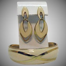 Signed Avon Fashion Pastel 1987 Enameled Cuff Bracelet Pierced Earrings Set