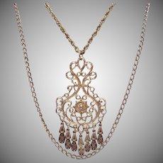 Vintage 1960s Heavy Etruscan Medallion Double Chain Necklace