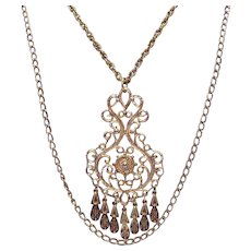 Vintage 1960s Heavy Etruscan Medallion Double Chain Necklace FREE SHIPPING
