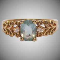 Beautiful Vintage Glass Aqua Marine CZ Signed Avon Ring Size 10