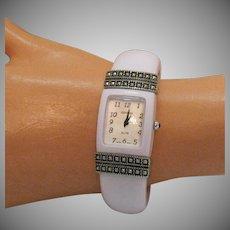 Awesome Signed Geneva Vintage White Lucite Cuff Bracelet Tank Wrist Watch