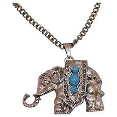 Adorable Vintage Figural Elephant Pendant Watch Necklace Faux Turquoise