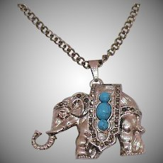 Adorable Vintage Figural Elephant Pendant Watch Necklace Faux Turquoise