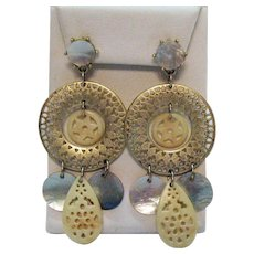 Signed Nina Ricci For Avon Vintage Pierced Dangle Earrings MOP 3 Inches Long