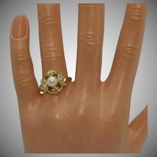 Etruscan Style Vintage Faux Pearl Rhinestone Golden Costume Jewelry Ring