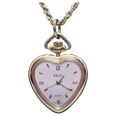 Vintage Signed Relic Figural Heart Pendant Watch Necklace