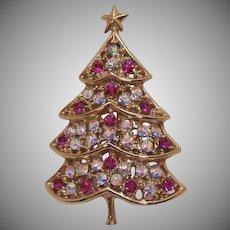 Signed Hedy Pink AB Rhinestone Vintage Figural Christmas Tree Brooch