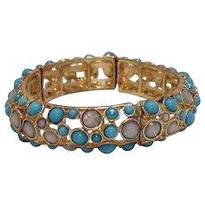 Vintage Metal Turquoise Glass Cabochon Stretch Bracelet