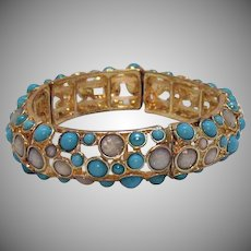 Vintage Metal Turquoise Glass Cabochon Stretch Bracelet