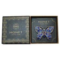 Signed Monet 1980s Vintage Figural Butterfly Brooch Original Box Unworn Rhinestones
