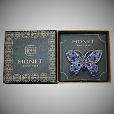 Signed Monet 1980s Vintage Figural Butterfly Brooch Original Box Unworn Rhinestones