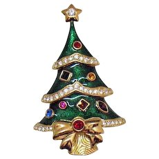 Signed Kenneth Jay Lane for Franklin Mint Vintage Guilloche Enameled Figural Christmas Tree Rhinestones Brooch