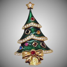 Signed Kenneth Jay Lane for Franklin Mint Vintage Guilloche Enameled Figural Christmas Tree Rhinestones Brooch