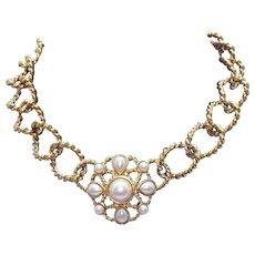Signed Trifari TM Vintage HUGE Golden Faux Pearl Chain Necklace~Unworn~168 Grams