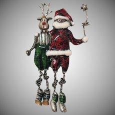 Signed Tanya's Creations TC Vintage Figural Santa Claus Rudolph Reindeer Brooch
